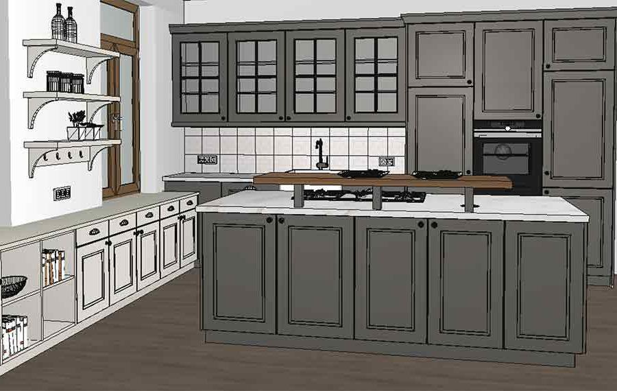 edle Landhausküche 3D geplant im Miele Center Pellet
