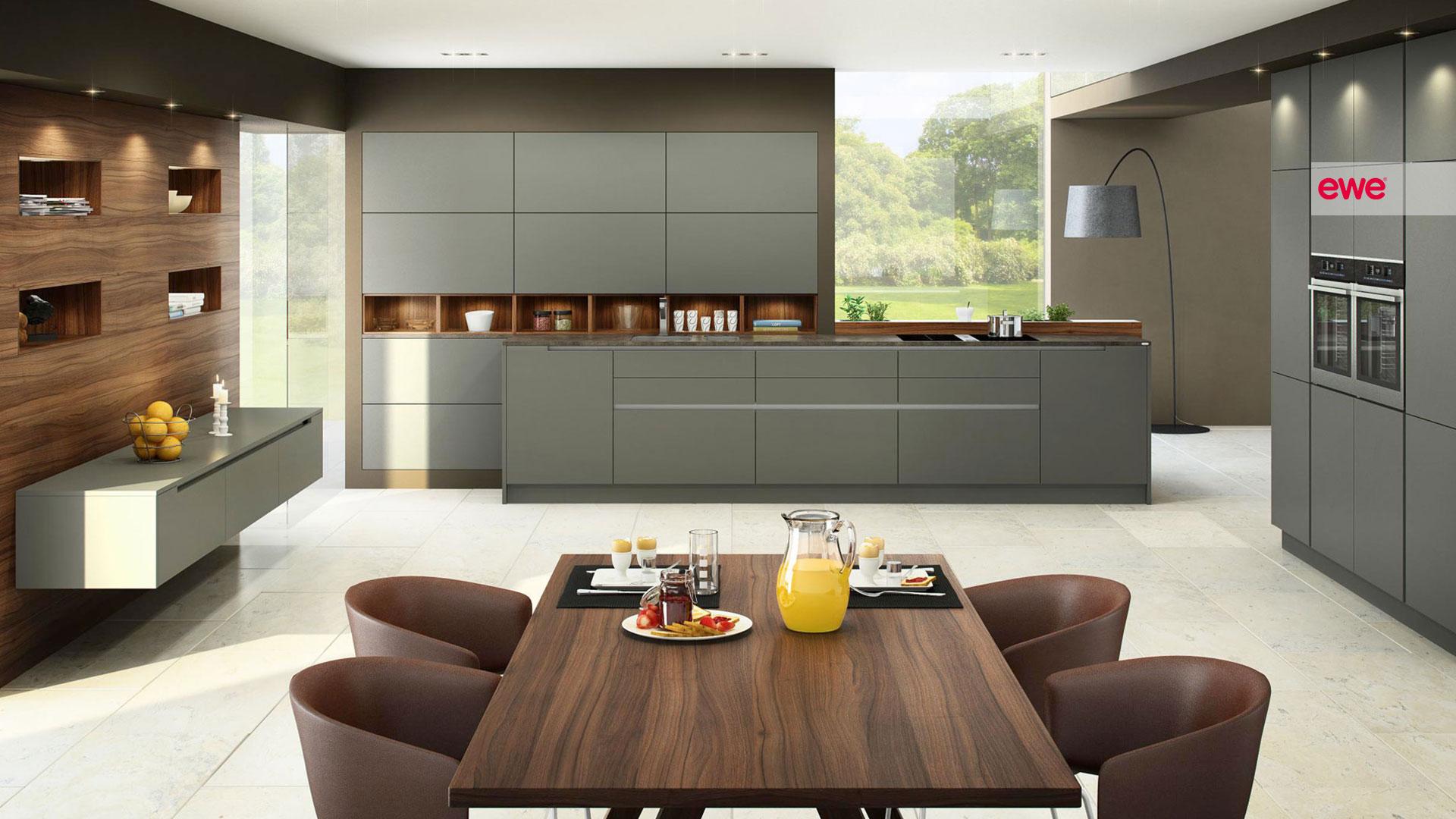 ewe Küche mit grauen Fronten | Miele Center Pellet Wien