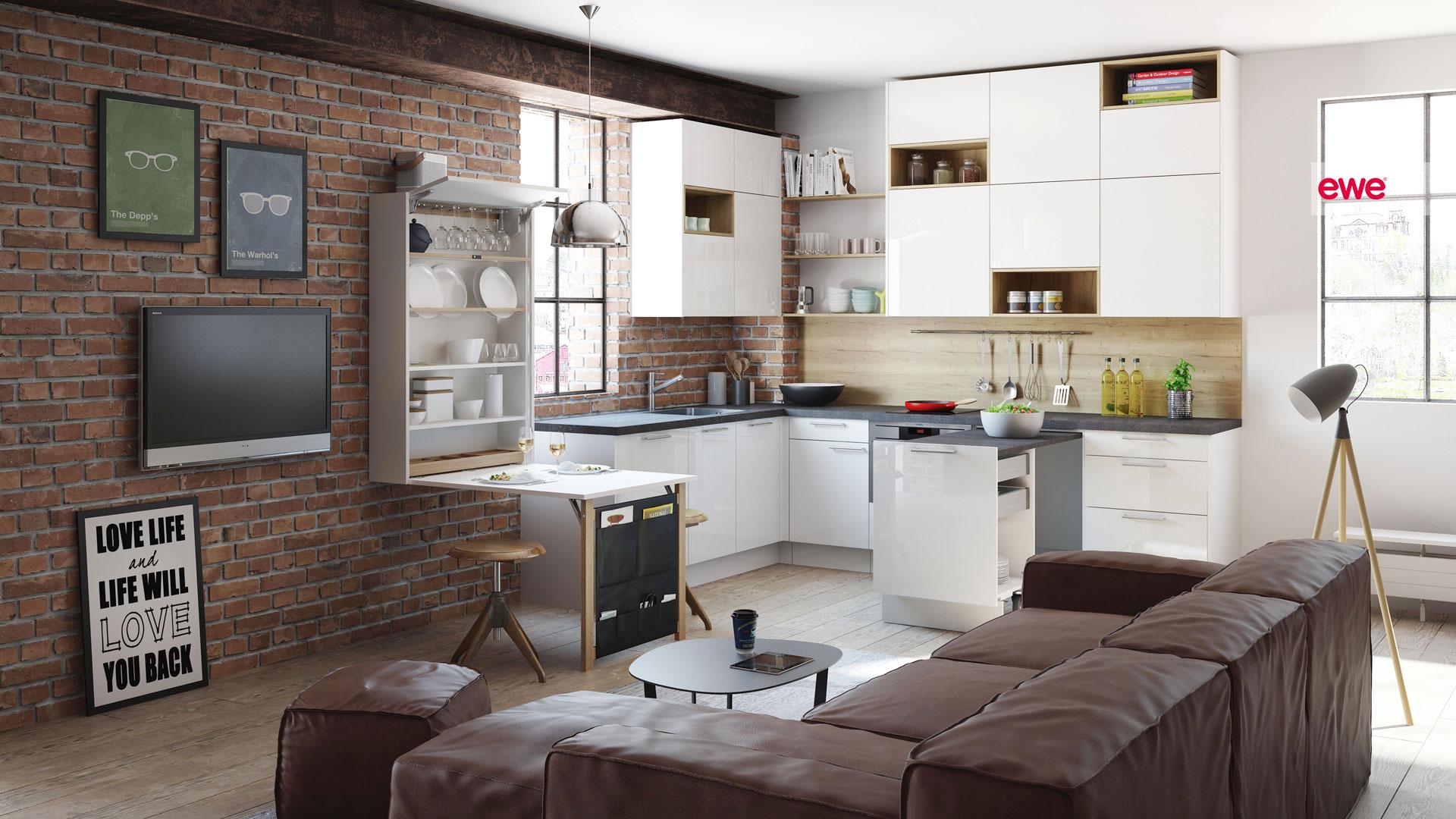 ewe moderne kleine Küche Miele Center Pellet Wien