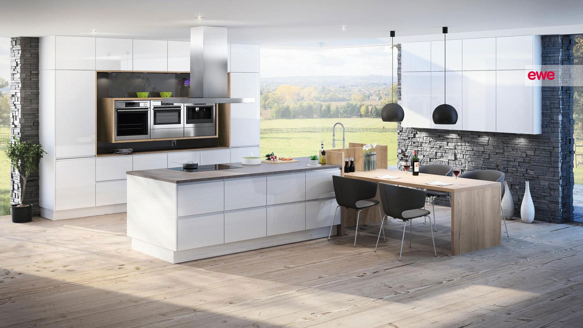 ewe weiße Küche mit Insel Miele Center Pellet Wien