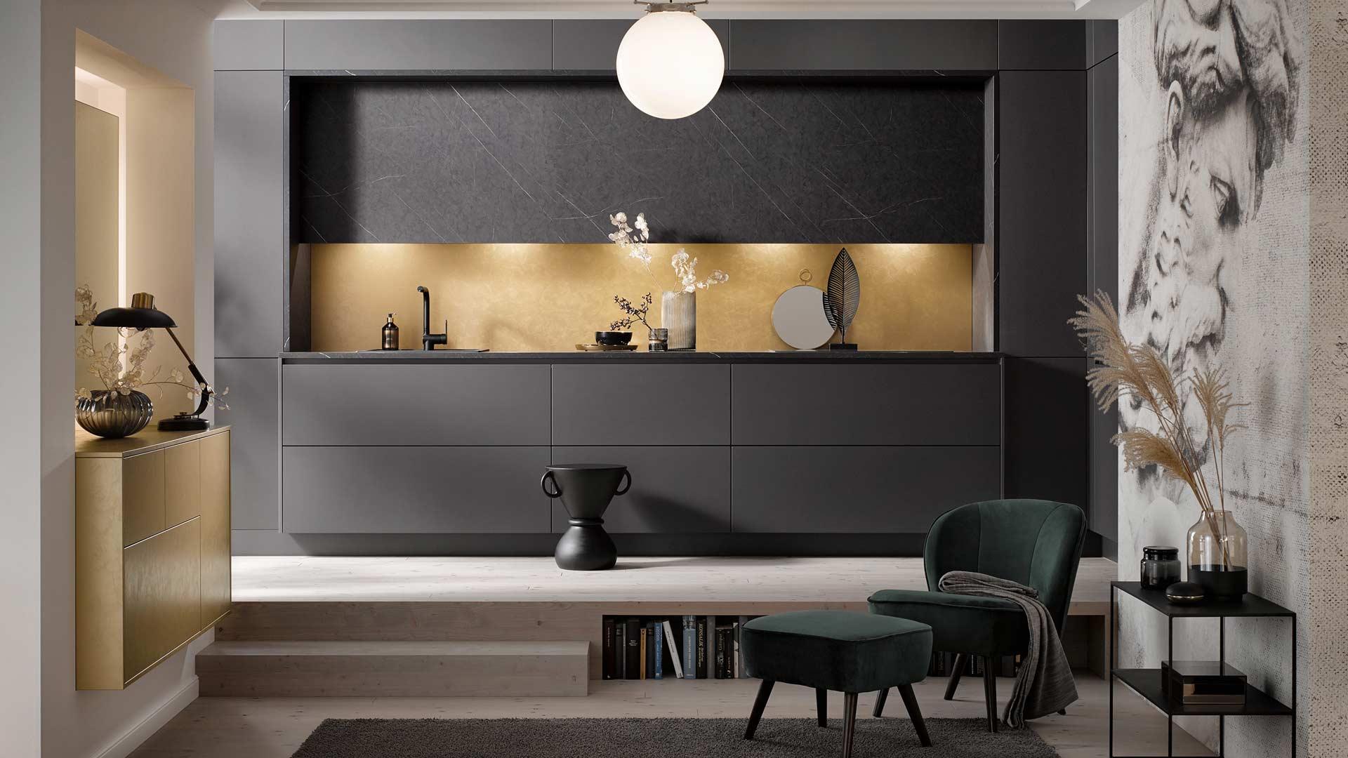 Küchentrends 2020 Häcker Antharazit und Goldlack im Miele Center Pellet