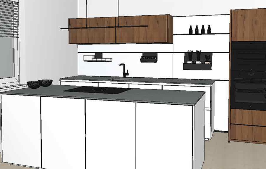 moderne Holzfrontenküche 3 D geplant
